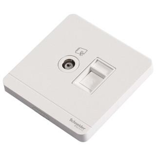 施耐德(Schneider)开关插座 面板 绎尚系列镜瓷白色  电视+电脑插座
