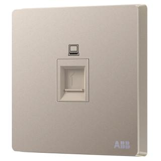 ABB开关插座面板 一位电脑插座 86型单联网线宽带插座 轩致系列 金色 AF331-PG