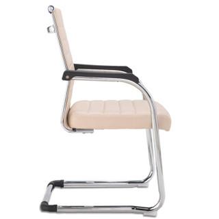 奈高办公家具电脑椅会议椅职员椅皮会客椅质弓形椅米色
