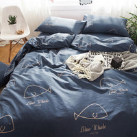 九洲鹿 全棉三件套 纯棉亲肤保暖斜纹印花床上用品单人学生床单被套枕套 鲸鱼 1.2米床 150*200cm