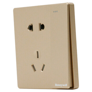霍尼韦尔(honeywell)开关插座面板 10A一开五孔带开关插座 境尚系列 金色