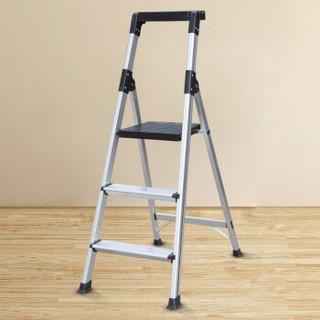瑞居家用折叠人字梯三阶宽踏梯铝合金梯子加厚多功能多用梯0.7v