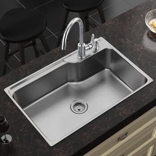 摩恩不锈钢水槽套装 304不锈钢大单槽 700mm厨房水池洗菜盆洗碗池28001 精铜冷热水高抛净铅厨房冷热水龙头