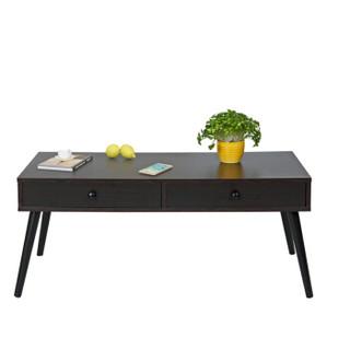 慧乐家 户外家具 简约北欧创意多功能双抽储物方桌 黑胡桃 11388-1