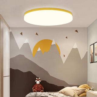SDhouseware 首度家居 LED吸顶灯北欧现代简约马卡龙客厅灯卧室灯超薄灯具 柠檬黄38*38cm-24瓦白光