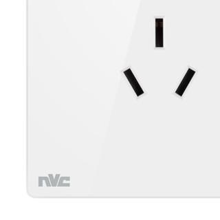 雷士(NVC) 开关插座面板 灵动系列 16A三孔插座面板 带荧光86型床头开关插座 无边框大翘板面板白色