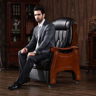 中伟多功能老板椅进口牛皮总裁椅电脑椅可躺办公椅-黑色