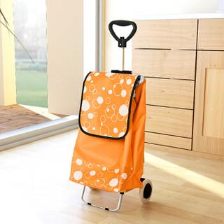 慧乐家 购物车 可伸缩拉杆购物车 可折叠购物手推车 橙色圆白点 22115