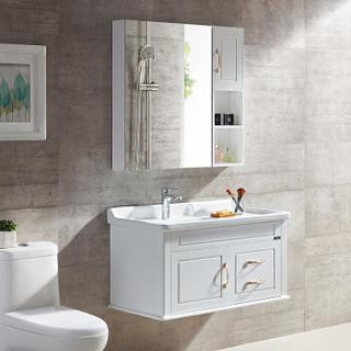 名爵(MEJUE)Z-6217100白色悬挂式实木浴室柜洗脸盆柜组合套装