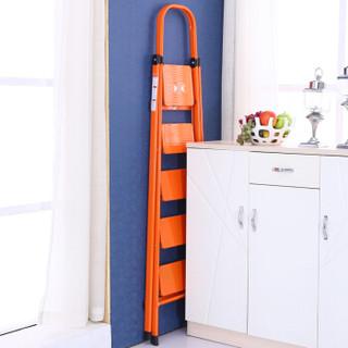 双鑫达 梯子家用人字梯折叠五步家用梯子桔色LD-06