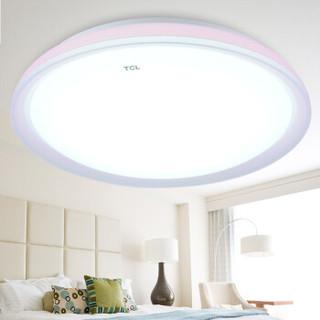 TCL 照明LED吸顶灯卧室灯阳台厨卫灯具圆形粉色直径44cm 正白22W