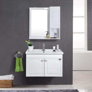 九牧(JOMOO)悬挂式实木浴室柜组合洗脸盆洗面台卫浴柜A2182-011A-1  精铜龙头 组合套装
