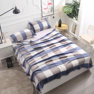 南极人 毛毯家纺 加厚云貂绒毛毯 空调毯子毛巾被 办公室午睡四季盖毯 蓝大格 150*200cm