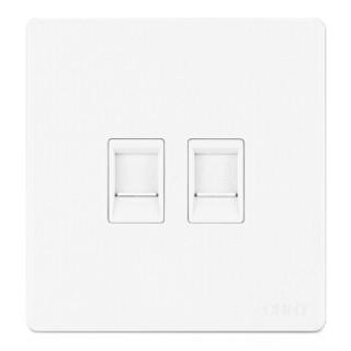 正泰(CHNT)开关插座面板 电脑电话插座 象牙白色 NEW2D系列