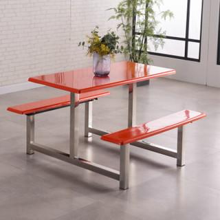 佐盛餐桌椅组合饭桌快餐桌折叠不锈钢化玻璃学校单位食堂员工餐桌四人位