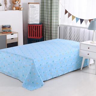思侬 床单 纯棉单人床单 全棉学生宿舍被单床上用品 欢乐小熊-蓝 1/1.2米床 155*220cm