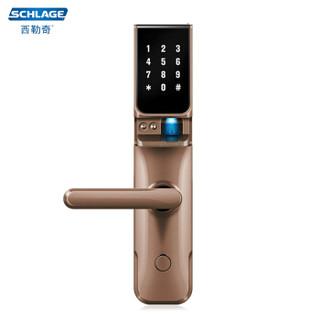 西勒奇(SCHLAGE)智能指纹锁SC1201电子锁C级锁芯家用防盗门密码锁 摩卡棕左开