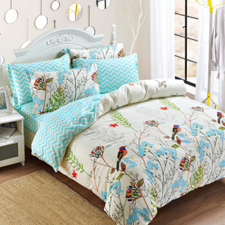 雅鹿·自由自在 四件套纯棉家纺 床上用品床单被套枕套全棉斜纹套件 1.5米/1.8米床 被套200*230cm 晚晴