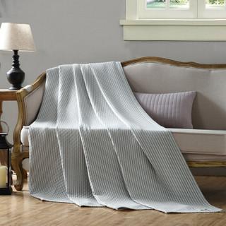 馨牌 毛巾被 日式A类多层纱布加厚纯棉毛毯 午睡毯子 休闲毯空调盖毯 条纹灰绿色 200*230cm