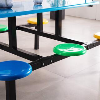 中伟 ZHONGWEI 学校员工食堂餐桌椅4人6人8人餐桌连体快餐桌椅组合 6人位玻璃钢