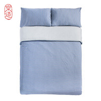PLUS会员:京东京造 海军蓝条 针织棉四件套 床单款 1.8m