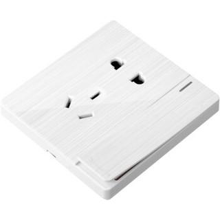飞雕(FEIDIAO)开关插座 五孔插座带单开双控电源墙壁开关 大板/雕琢拉丝白