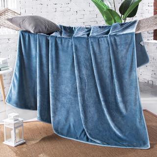 北极绒 加厚素色法兰绒毛毯 纯色毯子夏季午睡空调毯 毛巾被 法兰绒盖毯 海蓝 150*200cm