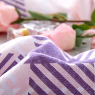 博洋家纺 床上用品 秋冬全棉加厚 简约条格双人磨毛保暖床单四件套-格韵时光 1.5米 200*230cm