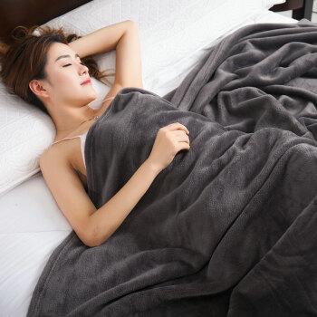 九洲鹿 毛毯加厚法兰绒毯子 珊瑚绒午睡空调毯毛巾被盖毯 灰色 150*200cm