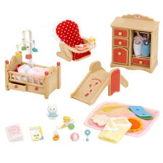 森贝儿家族日本品牌公主玩具女孩娃娃屋仿真森林家族过家家植绒兔子公仔人偶-宝宝卧室套SYFC5036 *2件