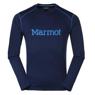 土拨鼠(Marmot)男款速干T恤 遮阳透气排汗圆领长袖衣 S54310深海军蓝/法国蓝 M