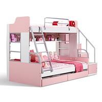 多喜爱 AOK 儿童彩板高低床双层子母床 带护栏儿童床 粉色 1.35 * 2米(不含梯柜拖箱)