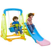 诺澳 儿童室内卡通滑梯组合三合一滑梯秋千家用多功能滑滑梯宝宝玩具 绿色