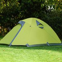 特 牧高笛 户外登山野营防风防雨2-3人双层三季铝杆帐篷 MF 三人-绿色