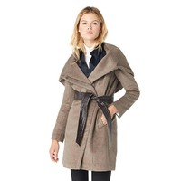 COLE HAAN 可汗 356SW127 女士带腰带不对称羊毛大衣