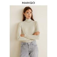 MANGO 43040537 女士高翻领针织上衣 (黑、170)