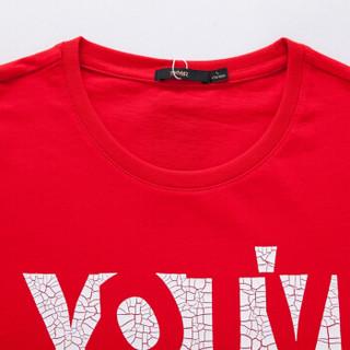 Semir 森马 19037001210 男士字母印花T恤 中国红 S