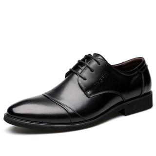 宜驰 EGCHI 正装皮鞋男士商务休闲时尚耐磨鞋子男 3665 黑色 42 *3件