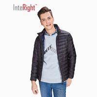InteRight 男士立领超轻便携羽绒服 (白鸭绒、L、黑色)