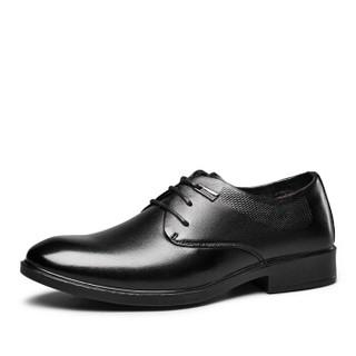 意尔康男鞋加绒保暖高帮棉鞋商务套脚百搭休闲皮鞋7841ZK90186W 黑色 40