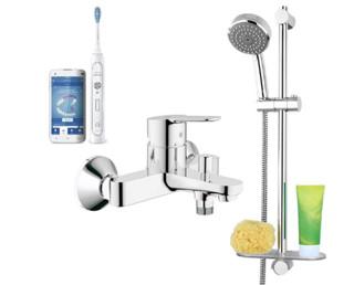GROHE 高仪 淋浴花洒单把手明装浴缸淋浴龙头套装 23348000+26098000+飞利浦 HX9192/01 电动牙刷