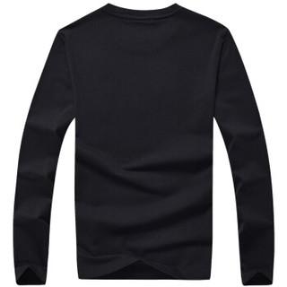 CARTELO 16057KE9518 男士纯色圆领长袖T恤 黑色 L