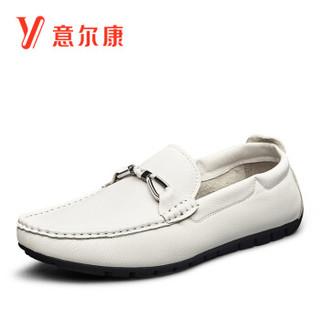 YEARCON 意尔康 8112ZR90248W 男士豆豆鞋 白色 41
