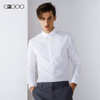 G2000 纵横两千 00040101 男士修身纯色休闲衬衫 白色 02/160