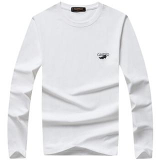 CARTELO 16057KE9518 男士纯色圆领长袖T恤 白色 XL