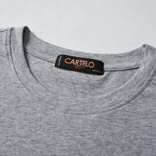 CARTELO 16057KE9518 男士纯色圆领长袖T恤