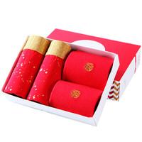恒源祥 11581 男士红色内裤袜子组合装