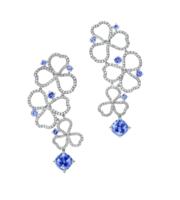 TIFFANY & Co Paper Flowers系列 铂金镶钻及坦桑石镂空 耳坠