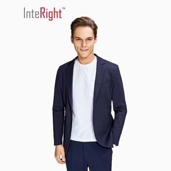 InteRight 男士针织休闲西装外套 (M、藏青色)