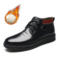 EGCHI 宜驰 86032 男士高帮加绒靴子 黑色 38